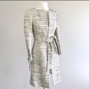 Zara metallic tweed boucle long tie dress coat M